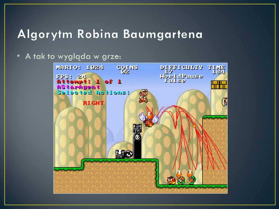 Ponieważ nie widzimy nic poza ekranem gry, planowanie dalej niż koniec tego ekranu mija się z celem – za wierzchołki końcowe przyjmujemy najdalsze widoczne wierzchołki Funkcja oczekiwanej drogi do celu jest prosta: zakładamy, że Mario pędzi do prawej krawędzi najszybciej, jak to możliwe (uwzględniamy przy tym jego aktualną prędkość) Krok 3/3: optymalizacja (konieczna, bo na ruch mamy tylko 40 ms) Jeśli nie mamy już czasu, zgłaszamy najlepszy ruch z tych, które dotąd sprawdziliśmy (nie jest kłopot, gdyż generator map nie tworzy ślepych zaułków)