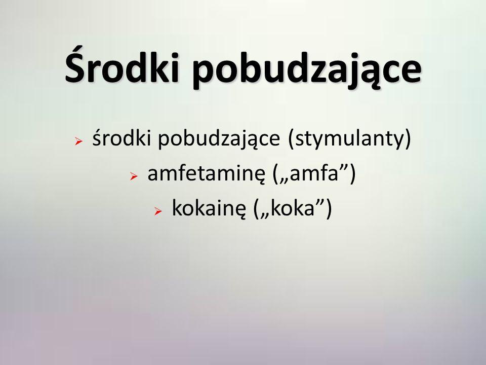 Środki pobudzające środki pobudzające (stymulanty) amfetaminę (amfa) kokainę (koka)