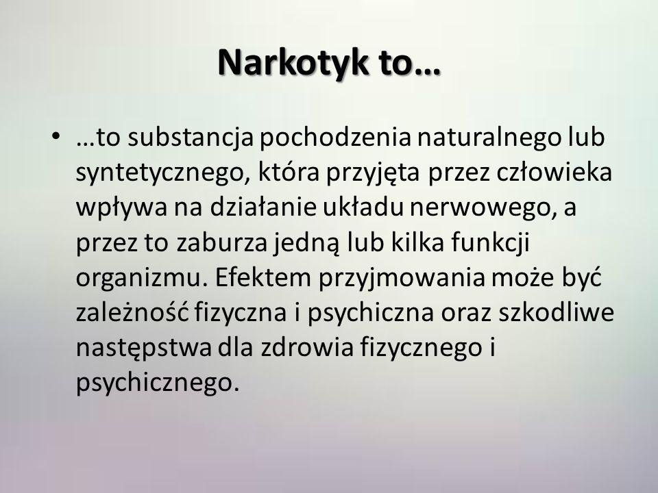 Narkotyk to… …to substancja pochodzenia naturalnego lub syntetycznego, która przyjęta przez człowieka wpływa na działanie układu nerwowego, a przez to