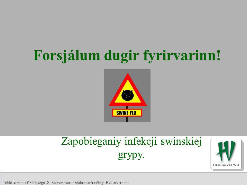 Tekið saman af Sólbjörgu G. Sólversdóttur hjúkrunarfræðingi Heilsuverndar. Forsjálum dugir fyrirvarinn! Zapobieganiy infekcji swinskiej grypy.