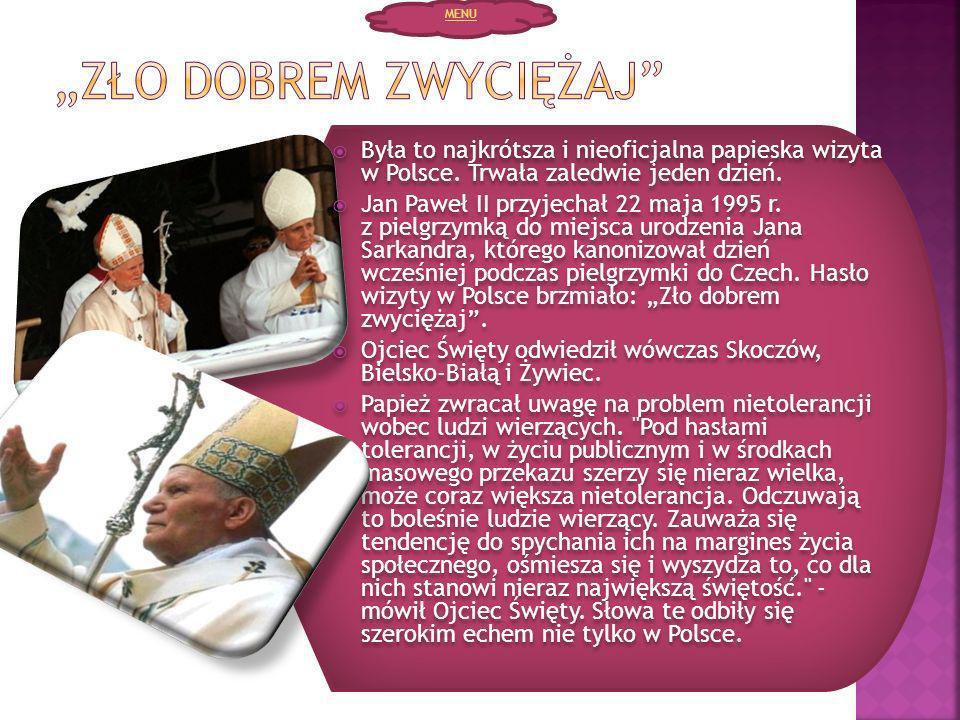 Była to najkrótsza i nieoficjalna papieska wizyta w Polsce. Trwała zaledwie jeden dzień. Jan Paweł II przyjechał 22 maja 1995 r. z pielgrzymką do miej