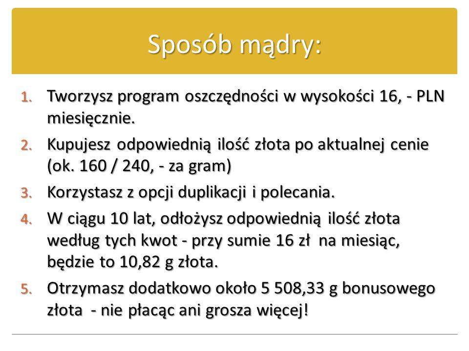 Sposób mądry: 1. T worzysz program oszczędności w wysokości 16, - PLN miesięcznie. 2. K upujesz odpowiednią ilość złota po aktualnej cenie (ok. 160 /