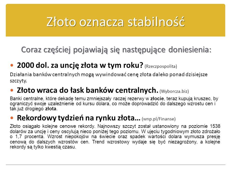 Złoto oznacza stabilność Coraz częściej pojawiają się następujące doniesienia: 2000 dol. za uncję złota w tym roku? (Rzeczpospolita) Działania banków