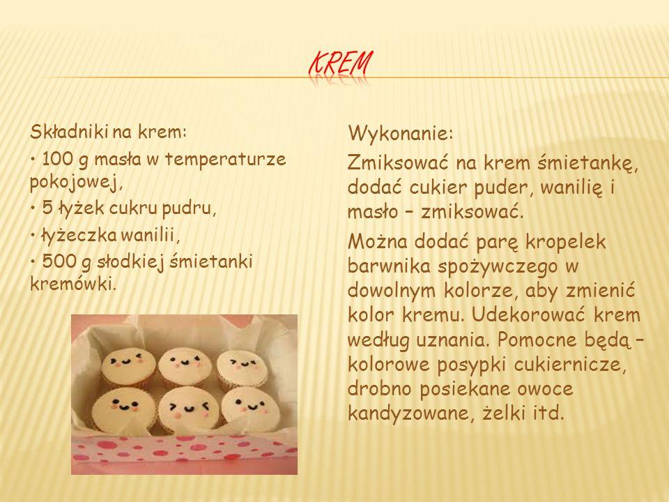 Waniliowe cupcakes Składniki (na 12 babeczek): 125 g cukru, 125 g mąki, 125 g masła, 2 jajka, 2 łyżeczki wanilii w proszku, 3 łyżki mleka, łyżeczka pr