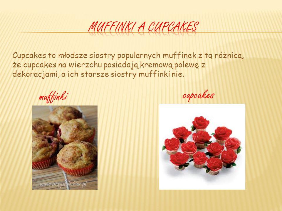 Cupcakes to młodsze siostry popularnych muffinek z tą różnicą, że cupcakes na wierzchu posiadają kremową polewę z dekoracjami, a ich starsze siostry muffinki nie.