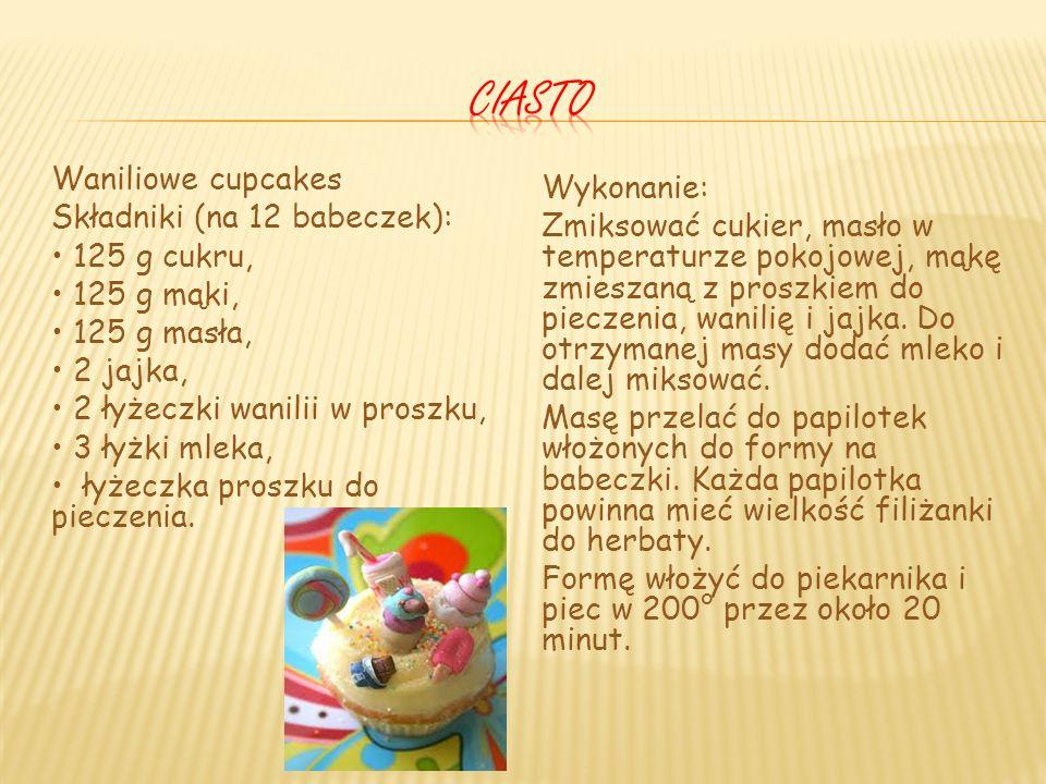 Waniliowe cupcakes Składniki (na 12 babeczek): 125 g cukru, 125 g mąki, 125 g masła, 2 jajka, 2 łyżeczki wanilii w proszku, 3 łyżki mleka, łyżeczka proszku do pieczenia.