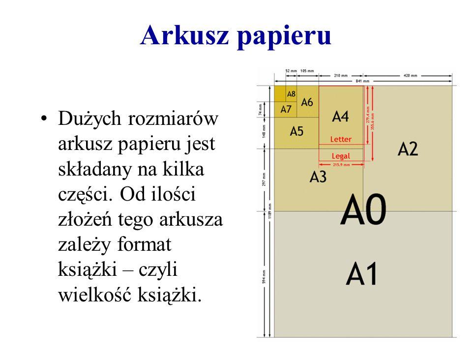 Arkusz papieru Dużych rozmiarów arkusz papieru jest składany na kilka części. Od ilości złożeń tego arkusza zależy format książki – czyli wielkość ksi