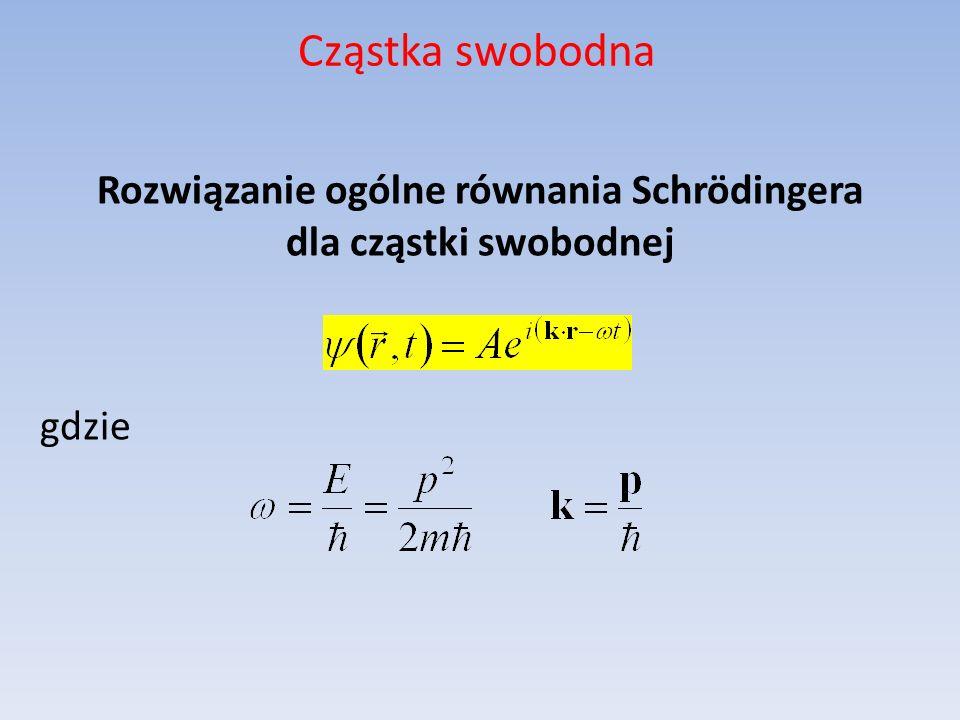 Cząstka swobodna Rozwiązanie ogólne równania Schrödingera dla cząstki swobodnej gdzie