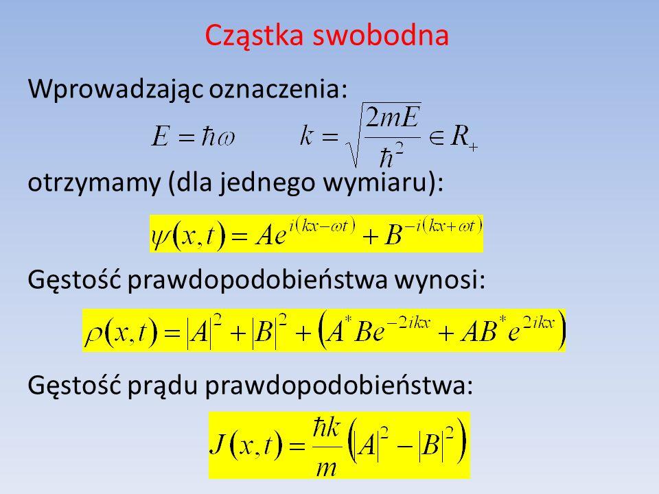Cząstka swobodna Wprowadzając oznaczenia: otrzymamy (dla jednego wymiaru): Gęstość prawdopodobieństwa wynosi: Gęstość prądu prawdopodobieństwa:
