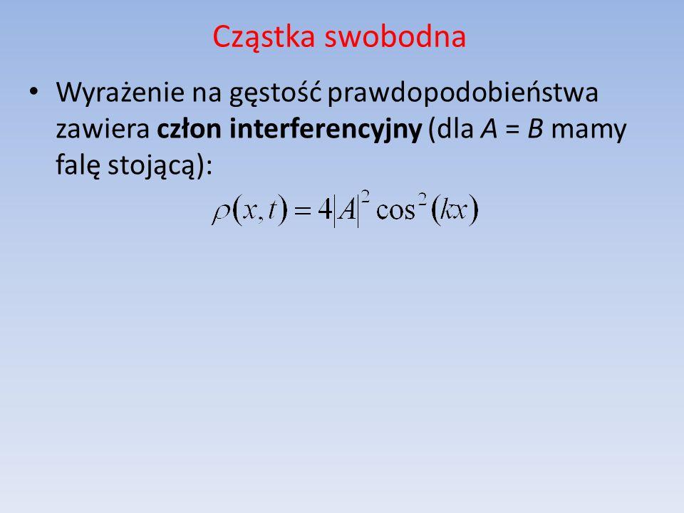 Cząstka swobodna Wyrażenie na gęstość prawdopodobieństwa zawiera człon interferencyjny (dla A = B mamy falę stojącą):