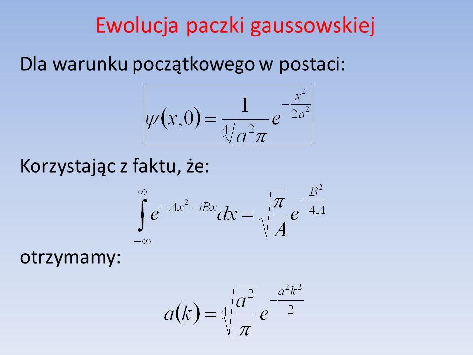 Ewolucja paczki gaussowskiej Dla warunku początkowego w postaci: Korzystając z faktu, że: otrzymamy: