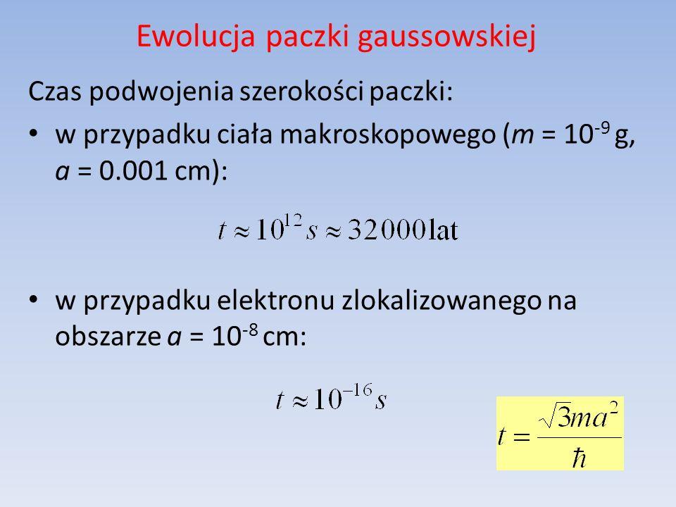 Czas podwojenia szerokości paczki: w przypadku ciała makroskopowego (m = 10 -9 g, a = 0.001 cm): w przypadku elektronu zlokalizowanego na obszarze a =