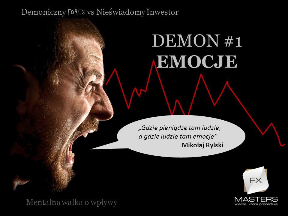 Demoniczny FOREX vs Nieświadomy Inwestor DEMON #1 EMOCJE Mentalna walka o wpływy Gdzie pieniądze tam ludzie, a gdzie ludzie tam emocje Mikołaj Rylski