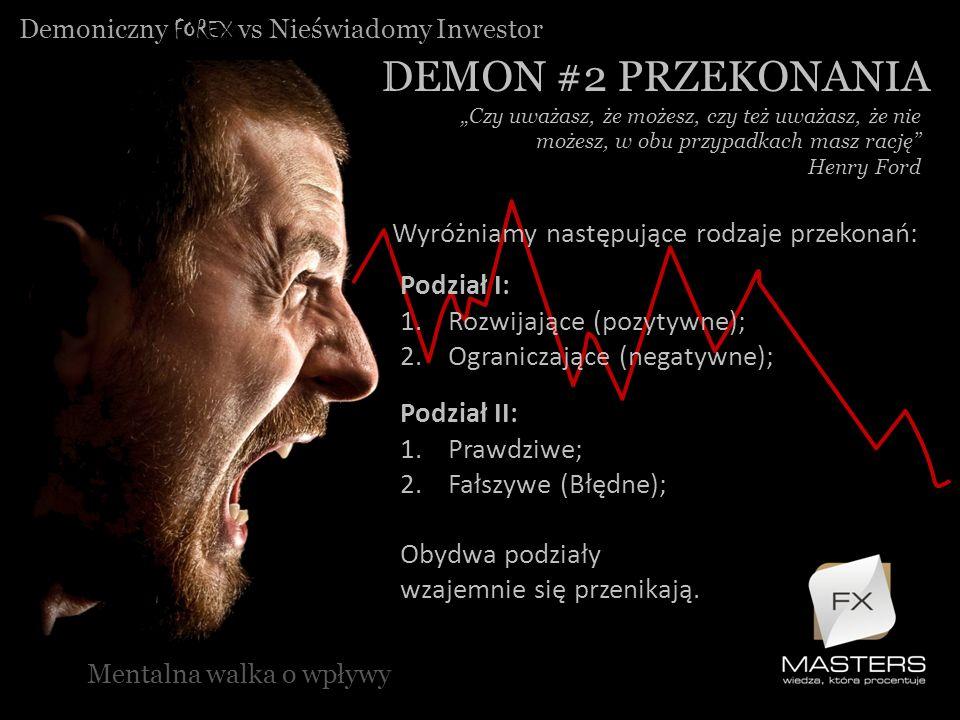 Demoniczny FOREX vs Nieświadomy Inwestor DEMON #2 PRZEKONANIA Mentalna walka o wpływy Czy uważasz, że możesz, czy też uważasz, że nie możesz, w obu pr