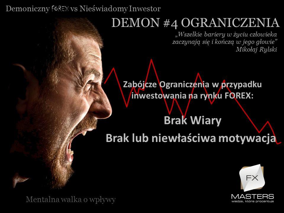 Zabójcze Ograniczenia w przypadku inwestowania na rynku FOREX: Brak Wiary Demoniczny FOREX vs Nieświadomy Inwestor DEMON #4 OGRANICZENIA Mentalna walk