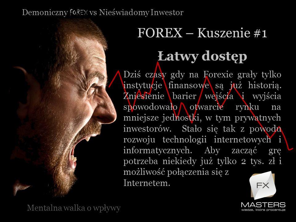 Demoniczny FOREX vs Nieświadomy Inwestor FOREX – Kuszenie #1 Mentalna walka o wpływy Łatwy dostęp Dziś czasy gdy na Forexie grały tylko instytucje fin