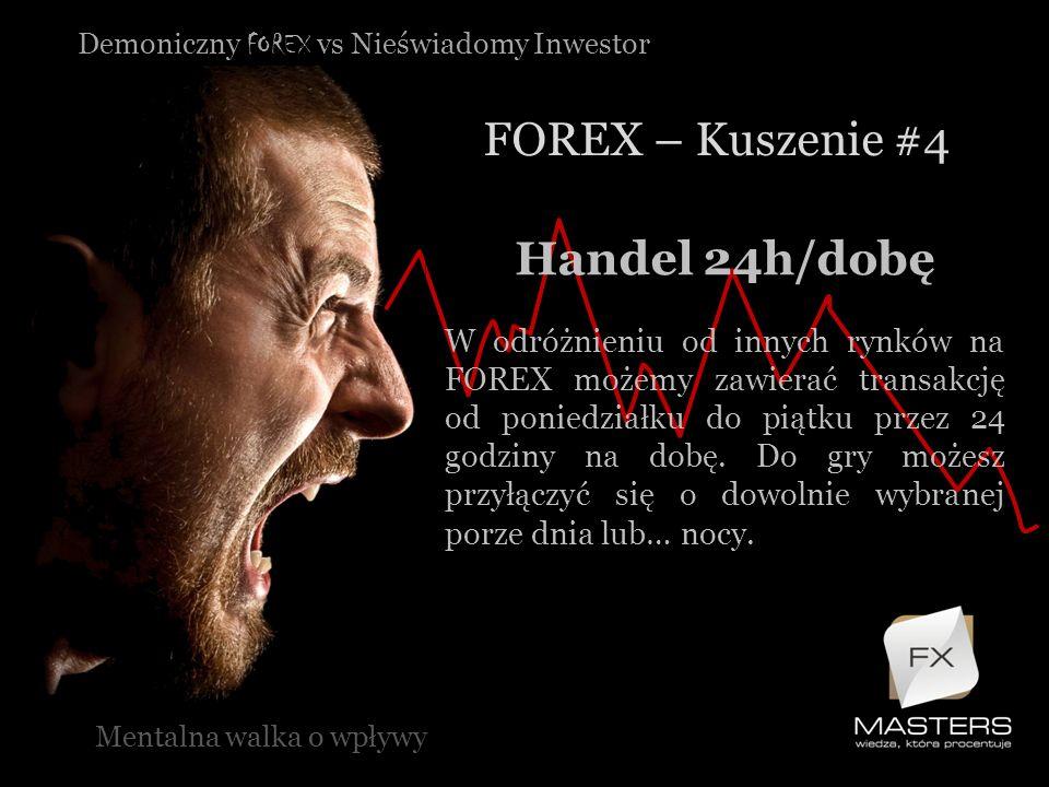 Demoniczny FOREX vs Nieświadomy Inwestor FOREX – Kuszenie #4 Mentalna walka o wpływy Handel 24h/dobę W odróżnieniu od innych rynków na FOREX możemy za