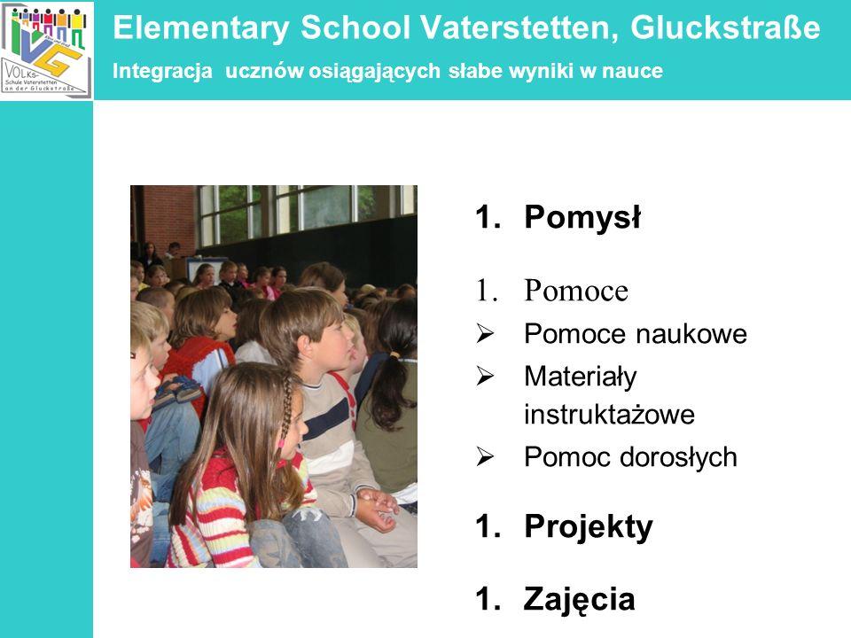 Elementary School Vaterstetten, Gluckstraße Integracja ucznów osiągających słabe wyniki w nauce 1.Pomysł 1.Pomoce Pomoce naukowe Materiały instruktażo