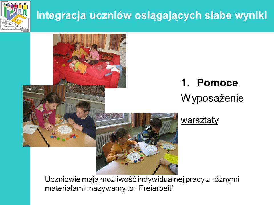 Integracja uczniów osiągających słabe wyniki 1.Pomoce Wyposażenie warsztaty Uczniowie mają możliwość indywidualnej pracy z różnymi materiałami- nazywa