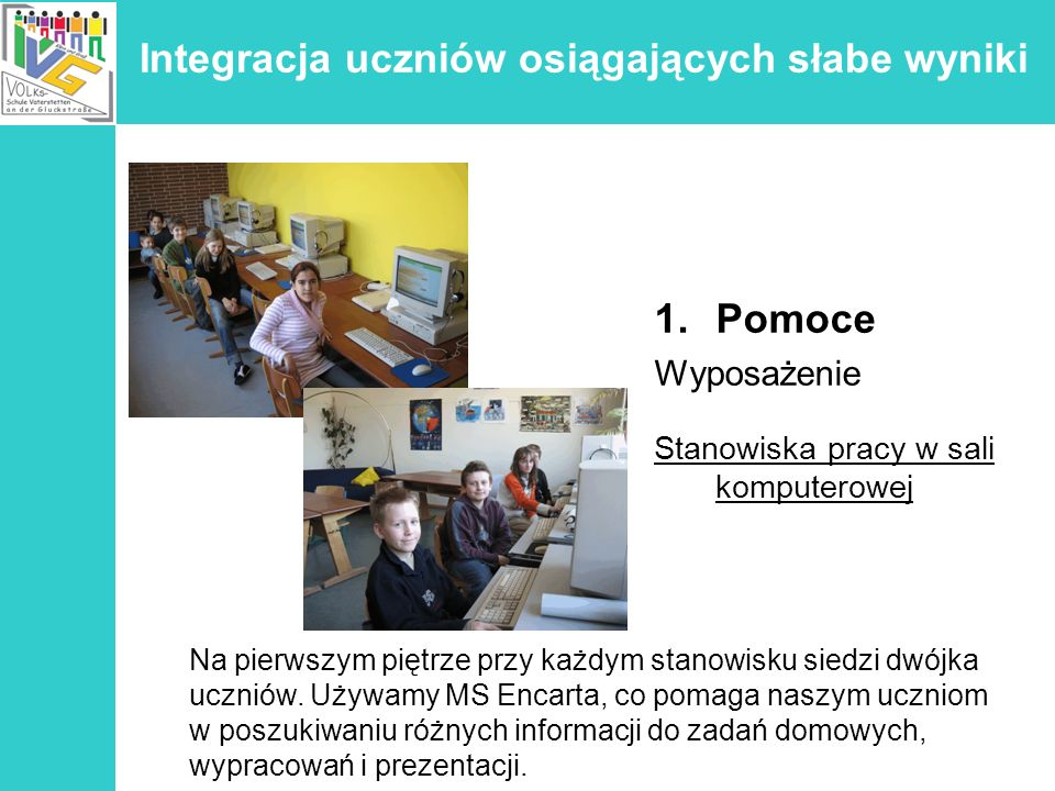 Integracja uczniów osiągających słabe wyniki 1.Pomoce Wyposażenie Stanowiska pracy w sali komputerowej Na pierwszym piętrze przy każdym stanowisku sie