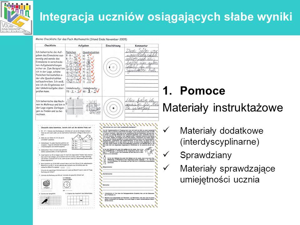 Integracja uczniów osiągających słabe wyniki 1.Pomoce Materiały instruktażowe Materiały dodatkowe (interdyscyplinarne) Sprawdziany Materiały sprawdzaj