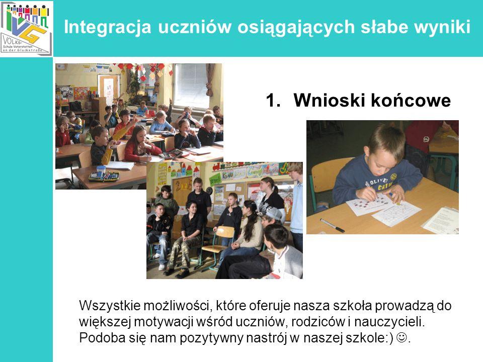 Integracja uczniów osiągających słabe wyniki 1.Wnioski końcowe Wszystkie możliwości, które oferuje nasza szkoła prowadzą do większej motywacji wśród u