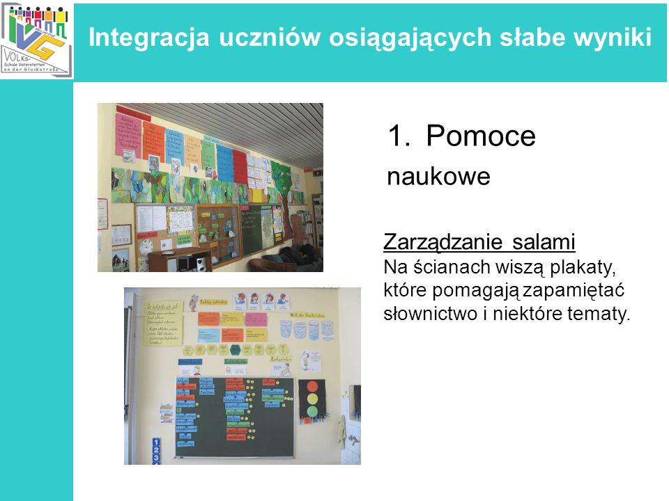 Integracja uczniów osiągających słabe wyniki 1.Pomoce naukowe Dodatkowe sale lekcyjne Aby utworzyć małe grupy, posiadamy specjalne sale do naszej dyspozycji, gdzie ochotnicy( mamy, uczniowie, stażyści), nauczyciel i uczniowie pracują razem.