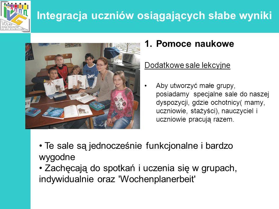 Integracja uczniów osiągających słabe wyniki 1.Pomoce naukowe Dodatkowe sale lekcyjne Aby utworzyć małe grupy, posiadamy specjalne sale do naszej dysp