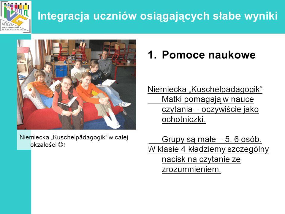 Integracja uczniów osiągających słabe wyniki 1.Pomoce Wyposażenie sala komputerowa warsztaty sala do sztuki sala muzyczna