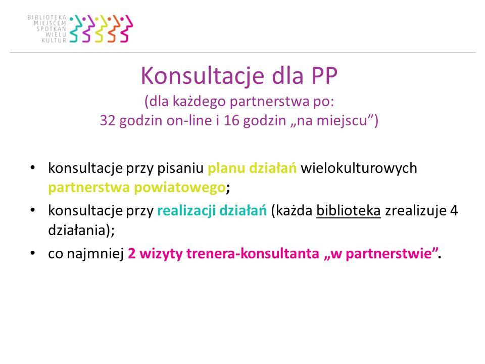 Konsultacje dla PP (dla każdego partnerstwa po: 32 godzin on-line i 16 godzin na miejscu) konsultacje przy pisaniu planu działań wielokulturowych part