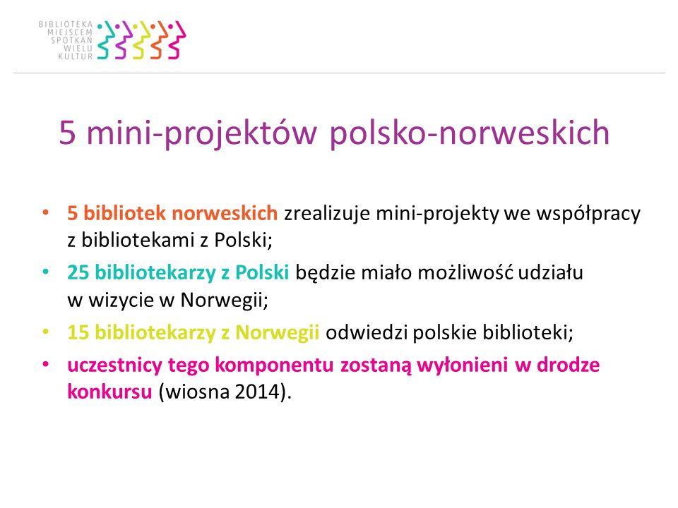 5 mini-projektów polsko-norweskich 5 bibliotek norweskich zrealizuje mini-projekty we współpracy z bibliotekami z Polski; 25 bibliotekarzy z Polski będzie miało możliwość udziału w wizycie w Norwegii; 15 bibliotekarzy z Norwegii odwiedzi polskie biblioteki; uczestnicy tego komponentu zostaną wyłonieni w drodze konkursu (wiosna 2014).