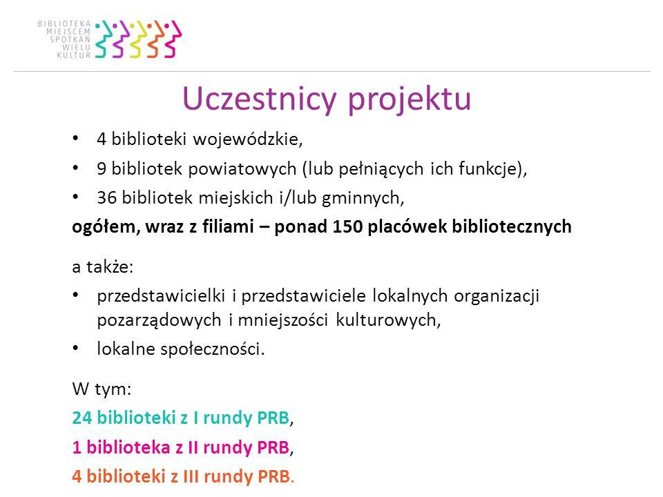 Uczestnicy projektu 4 biblioteki wojewódzkie, 9 bibliotek powiatowych (lub pełniących ich funkcje), 36 bibliotek miejskich i/lub gminnych, ogółem, wraz z filiami – ponad 150 placówek bibliotecznych a także: przedstawicielki i przedstawiciele lokalnych organizacji pozarządowych i mniejszości kulturowych, lokalne społeczności.