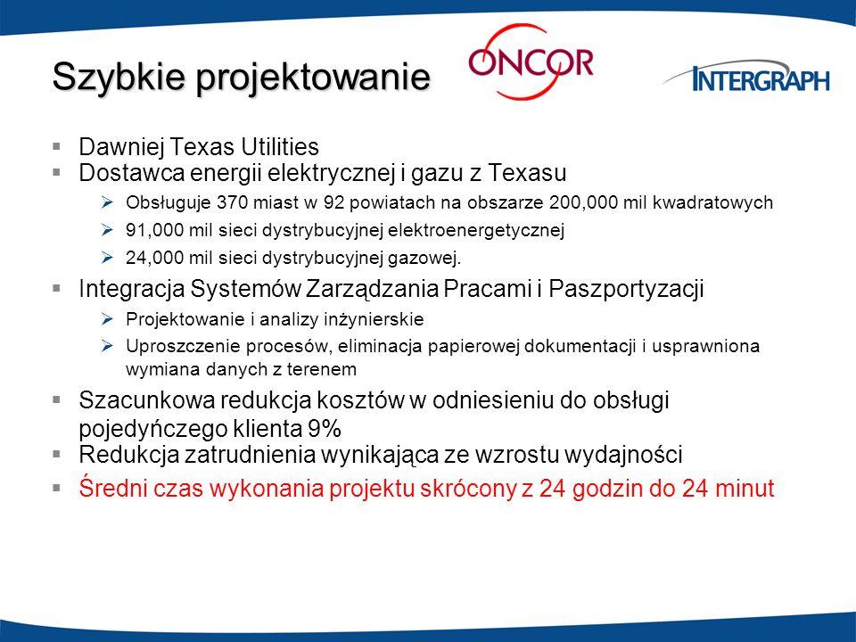 Szybkie projektowanie Dawniej Texas Utilities Dostawca energii elektrycznej i gazu z Texasu Obsługuje 370 miast w 92 powiatach na obszarze 200,000 mil
