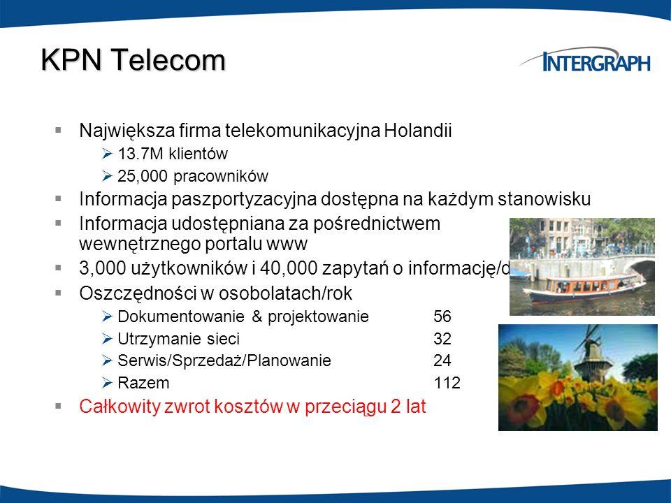 KPN Telecom Największa firma telekomunikacyjna Holandii 13.7M klientów 25,000 pracowników Informacja paszportyzacyjna dostępna na każdym stanowisku In