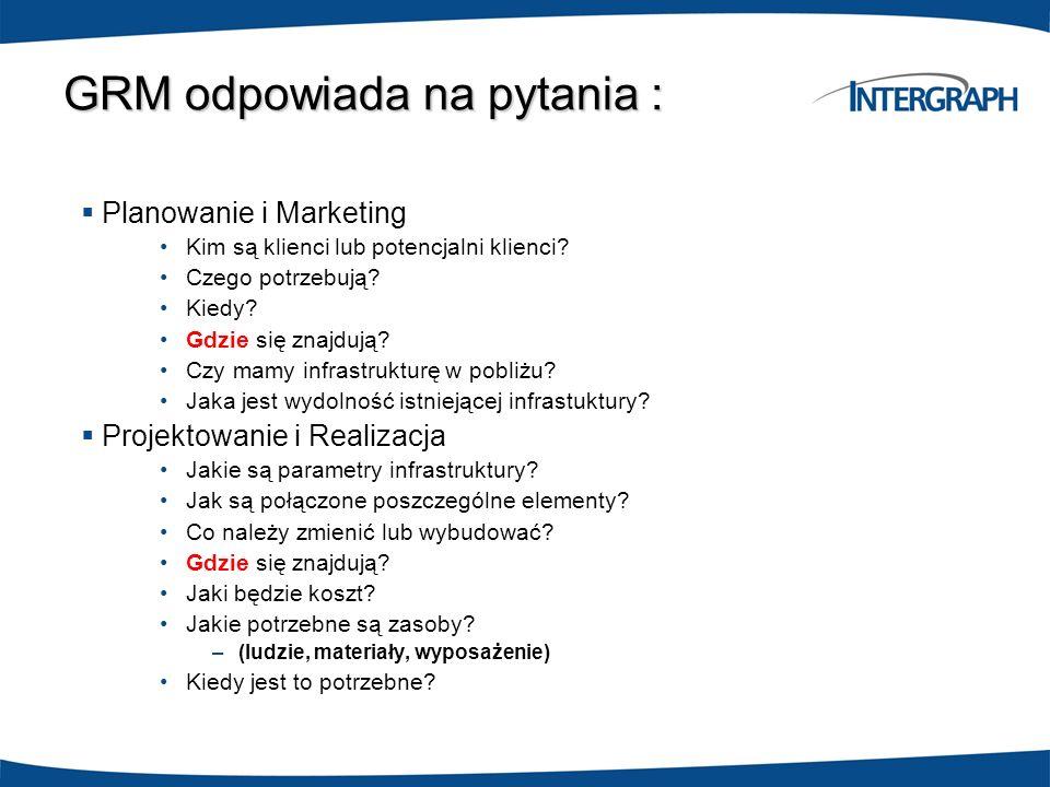 GRM odpowiada na pytania : Planowanie i Marketing Kim są klienci lub potencjalni klienci? Czego potrzebują? Kiedy? Gdzie się znajdują? Czy mamy infras