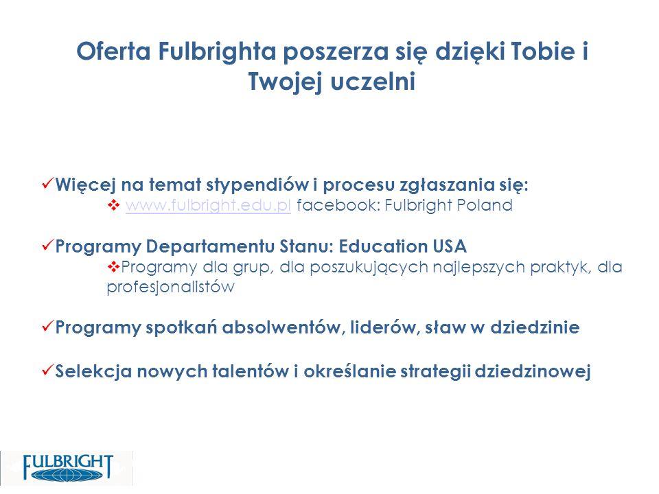 Więcej na temat stypendiów i procesu zgłaszania się: www.fulbright.edu.pl facebook: Fulbright Polandwww.fulbright.edu.pl Programy Departamentu Stanu: Education USA Programy dla grup, dla poszukujących najlepszych praktyk, dla profesjonalistów Programy spotkań absolwentów, liderów, sław w dziedzinie Selekcja nowych talentów i określanie strategii dziedzinowej Oferta Fulbrighta poszerza się dzięki Tobie i Twojej uczelni