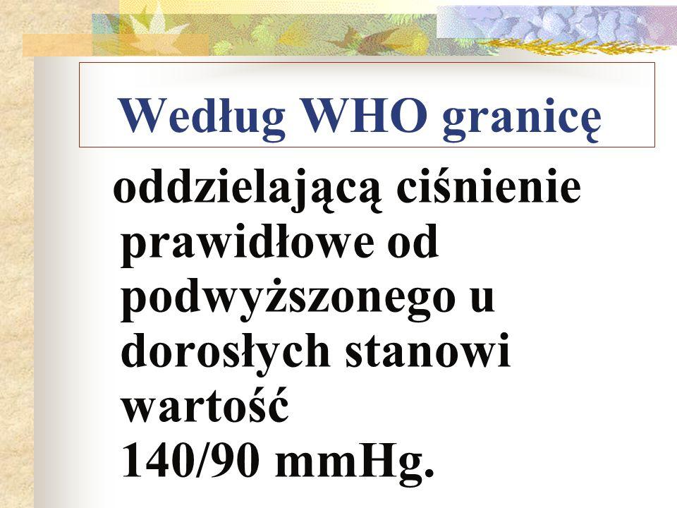 Według WHO granicę oddzielającą ciśnienie prawidłowe od podwyższonego u dorosłych stanowi wartość 140/90 mmHg.