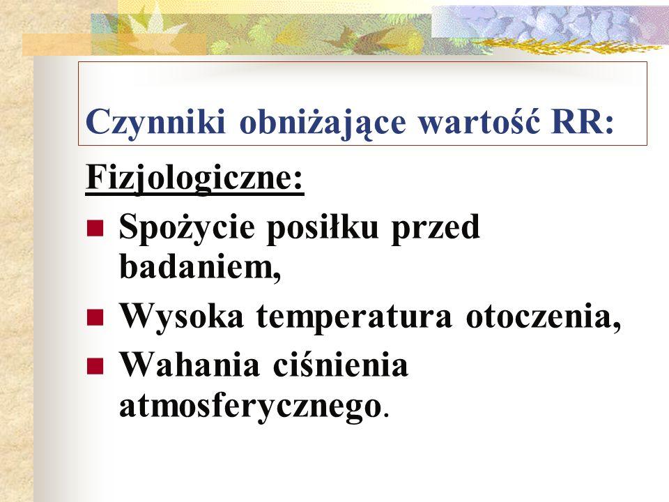 Czynniki obniżające wartość RR: Fizjologiczne: Spożycie posiłku przed badaniem, Wysoka temperatura otoczenia, Wahania ciśnienia atmosferycznego.