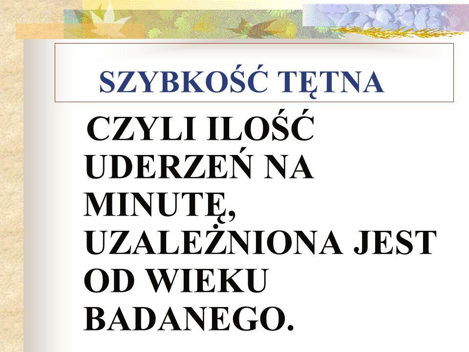 Wartości prawidłowe tętna: wiek.wart.uderzeń/min noworodek140 1-6.