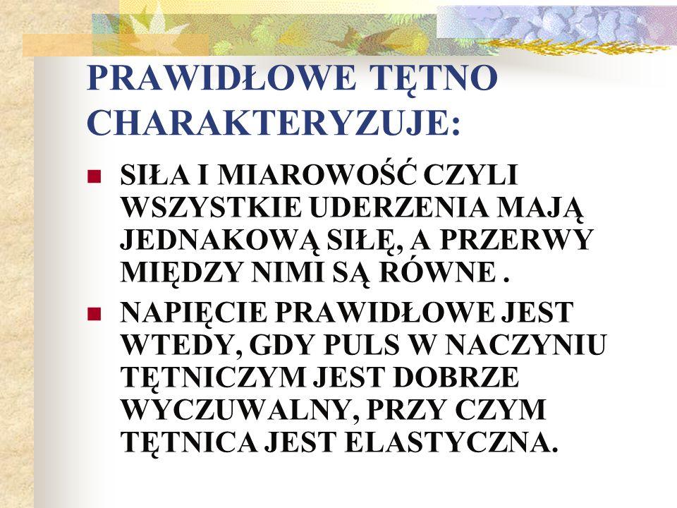 WARTOŚCI PRAWIDŁOWE RR TĘTNICZEGO WG RIVA-ROCCI : NOWORODKI (SKURCZ.) 60-80 mmHg, Niemowlęta (skurcz.)80-85 mmHg, Małe dzieci(skurcz)80-100 mmHg, Nastolatki(skurcz/rozk.)120/80 mmHg, dorośli(skurcz/rozkur)110-139/65-94 mmHg.