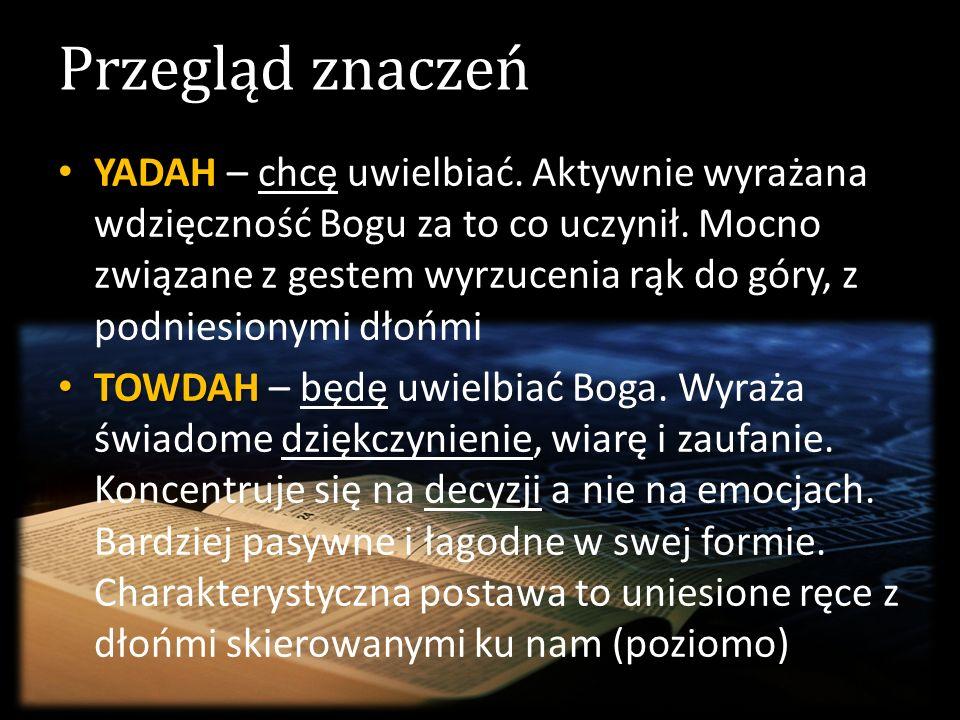 Przegląd znaczeń YADAH YADAH – chcę uwielbiać. Aktywnie wyrażana wdzięczność Bogu za to co uczynił. Mocno związane z gestem wyrzucenia rąk do góry, z