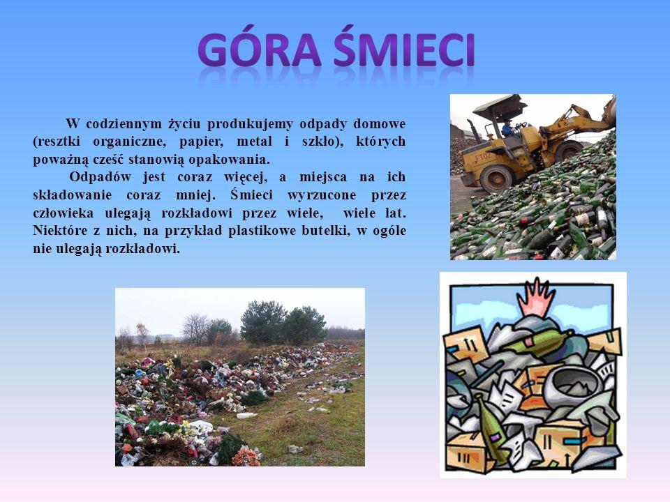 W codziennym życiu produkujemy odpady domowe (resztki organiczne, papier, metal i szkło), których poważną cześć stanowią opakowania. Odpadów jest cora