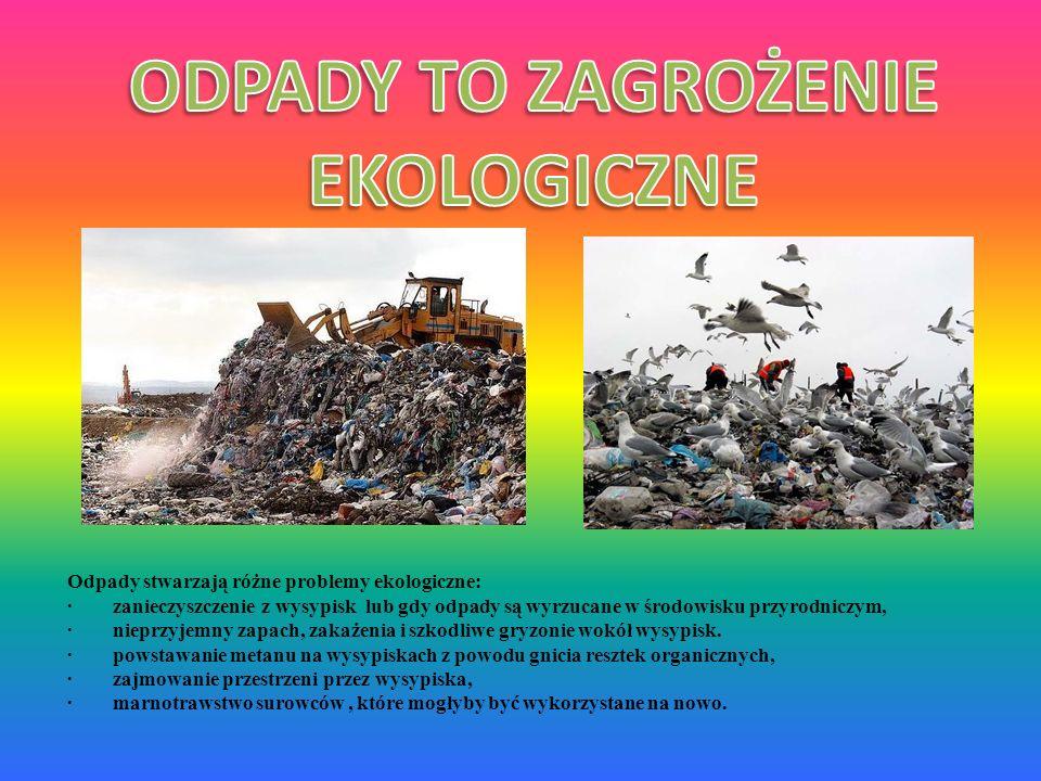 Odpady stwarzają różne problemy ekologiczne: · zanieczyszczenie z wysypisk lub gdy odpady są wyrzucane w środowisku przyrodniczym, · nieprzyjemny zapa
