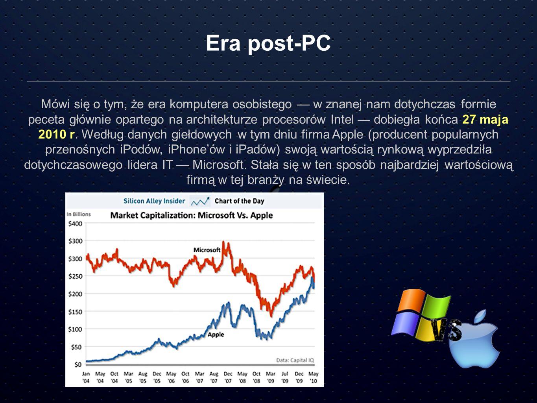 Era post-PC Mówi się o tym, że era komputera osobistego w znanej nam dotychczas formie peceta głównie opartego na architekturze procesorów Intel dobie