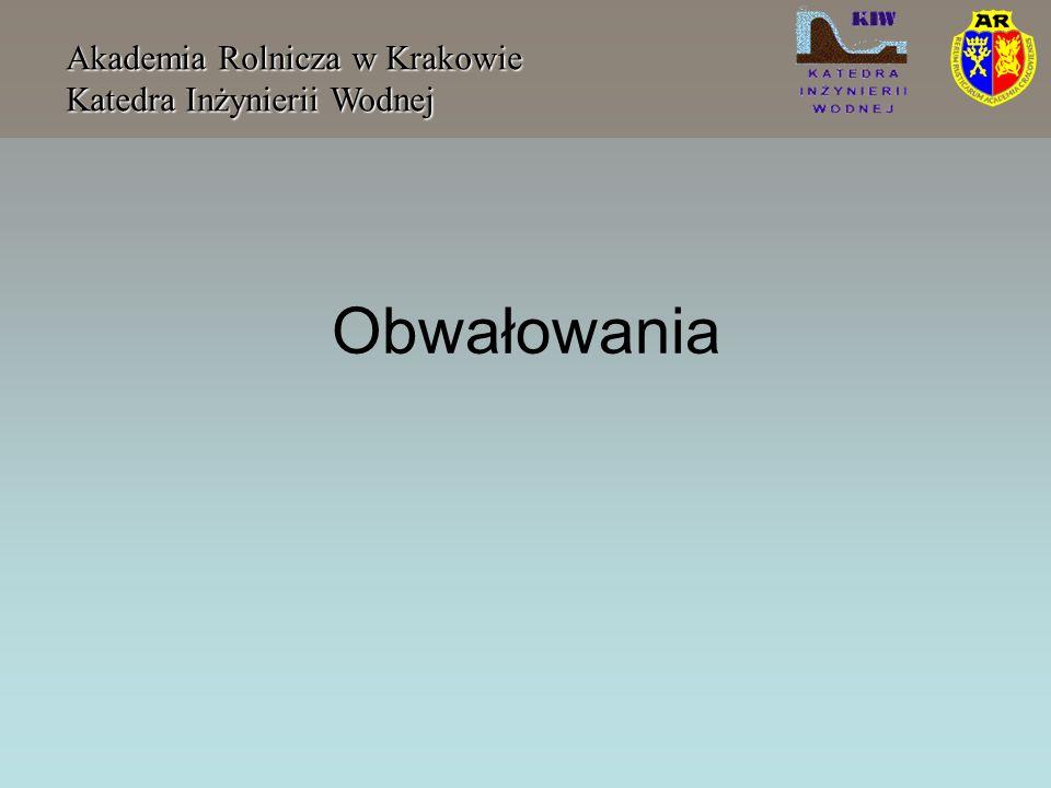 Wyłom w obwałowaniu Akademia Rolnicza w Krakowie Katedra Inżynierii Wodnej Szerokość wyłomu B = 2,5h w + C b gdzie: h w - głębokość wody na zaporze w momencie katastrofy C b - jest funkcja pojemności zbiornika zmieniającego się od wartości 6.1 dla zbiorników o pojemności 1,23 10 7 m 3