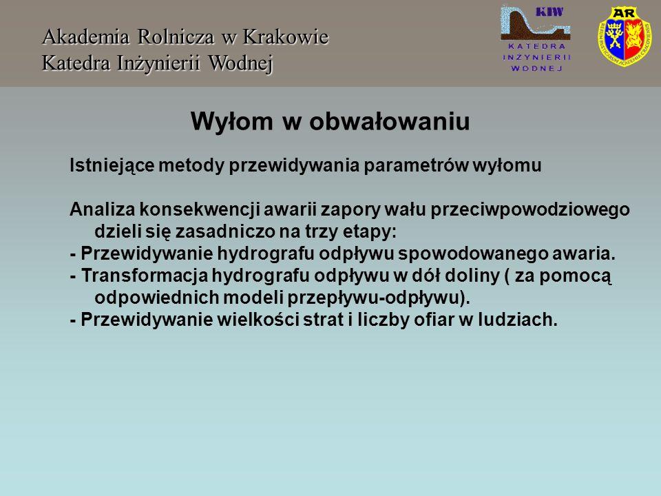 Wyłom w obwałowaniu Akademia Rolnicza w Krakowie Katedra Inżynierii Wodnej Istniejące metody przewidywania parametrów wyłomu Analiza konsekwencji awar