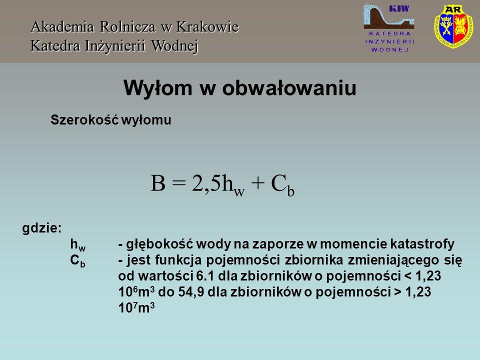 Wyłom w obwałowaniu Akademia Rolnicza w Krakowie Katedra Inżynierii Wodnej Szerokość wyłomu B = 2,5h w + C b gdzie: h w - głębokość wody na zaporze w