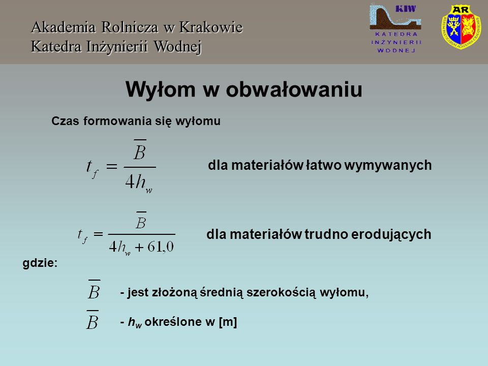 Wyłom w obwałowaniu Akademia Rolnicza w Krakowie Katedra Inżynierii Wodnej Czas formowania się wyłomu gdzie: - jest złożoną średnią szerokością wyłomu