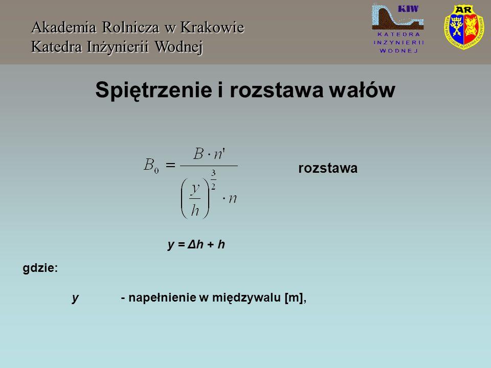 Spiętrzenie i rozstawa wałów Akademia Rolnicza w Krakowie Katedra Inżynierii Wodnej gdzie: y- napełnienie w międzywalu [m], y = Δh + h rozstawa