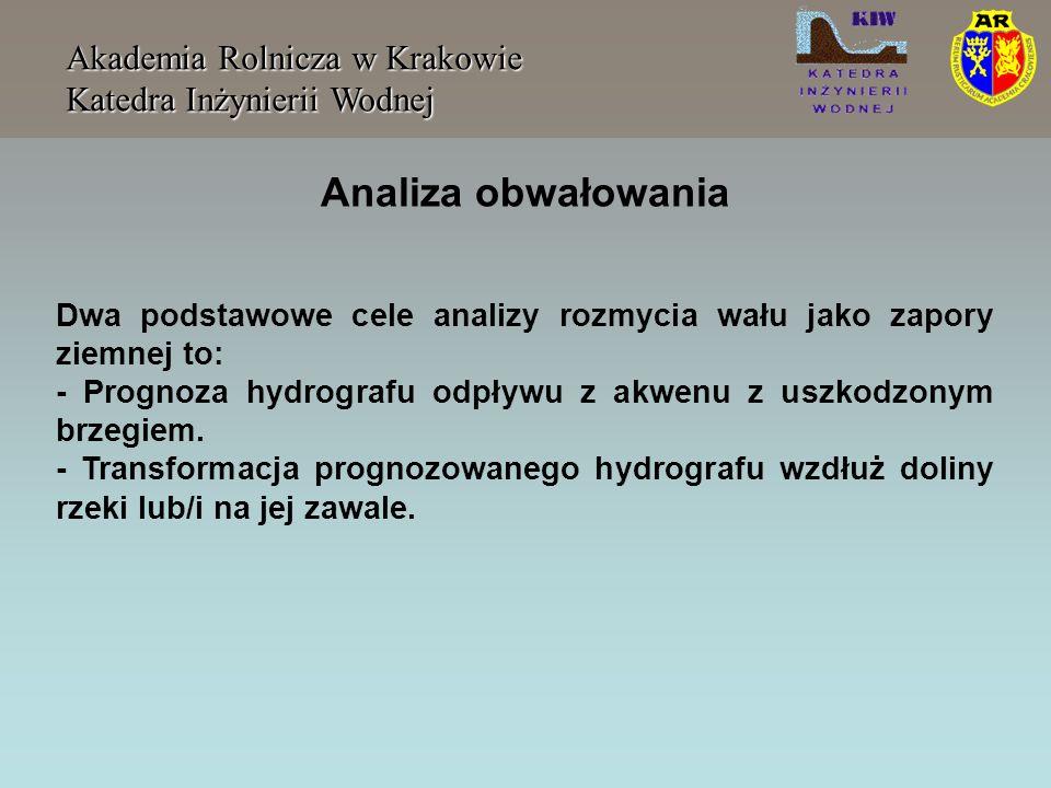 Akademia Rolnicza w Krakowie Katedra Inżynierii Wodnej Prognoza hydrografu wiąże się z kolei z: - Określeniem charakterystyk rozmycia zapory: kształtu, głębokości, szerokości i tempa formowania się wyłomu.